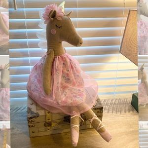 Burlap Ballerina Unicorn decoration